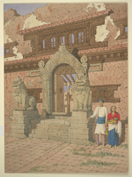 Entrance to monastery, Patan (Nepal). January 1855